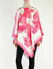 Vintage 1970s Pink & White Silk Butterfly Print Poncho - Amarcord Vintage Fashion  - 2