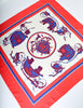 Hermes Vintage Ex Libris Red White Blue Carriage Silk Carre Scarf