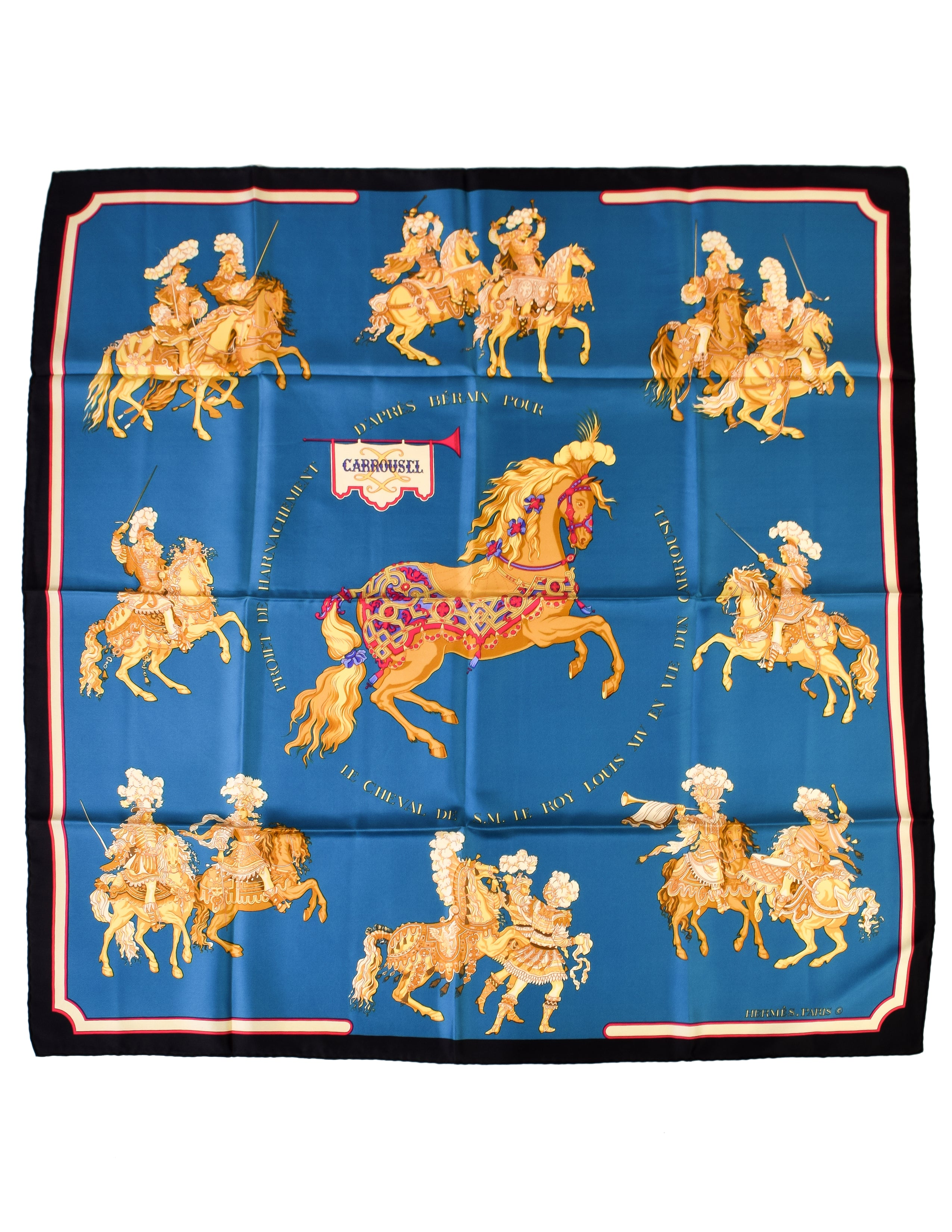 Hermes Vintage Carrousel Horse Blue Gold Royal Equestrian Silk Carre Scarf