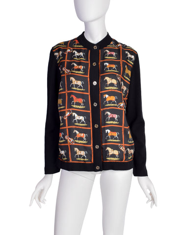 Hermes Vintage Petits Chevaux Horse Equestrian Theme Silk Wool Cardigan Sweater