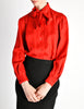 Hermès Vintage Red Silk Bee Jacquard Secretary Blouse Shirt - Amarcord Vintage Fashion  - 4