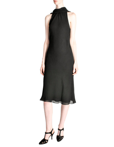Hermès Vintage Black Silk Crepe Layered Bias Dress