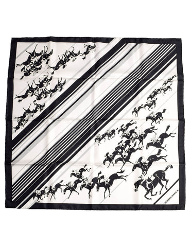 Hermes Vintage Les Courses Black and White Equestrian Horse Racing Silk Scarf
