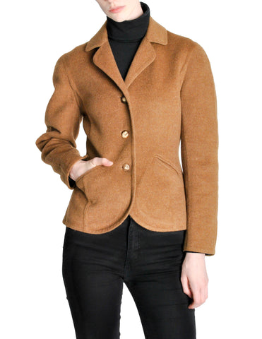 Hermès Vintage Caramel Brown Cashmere Riding Jacket