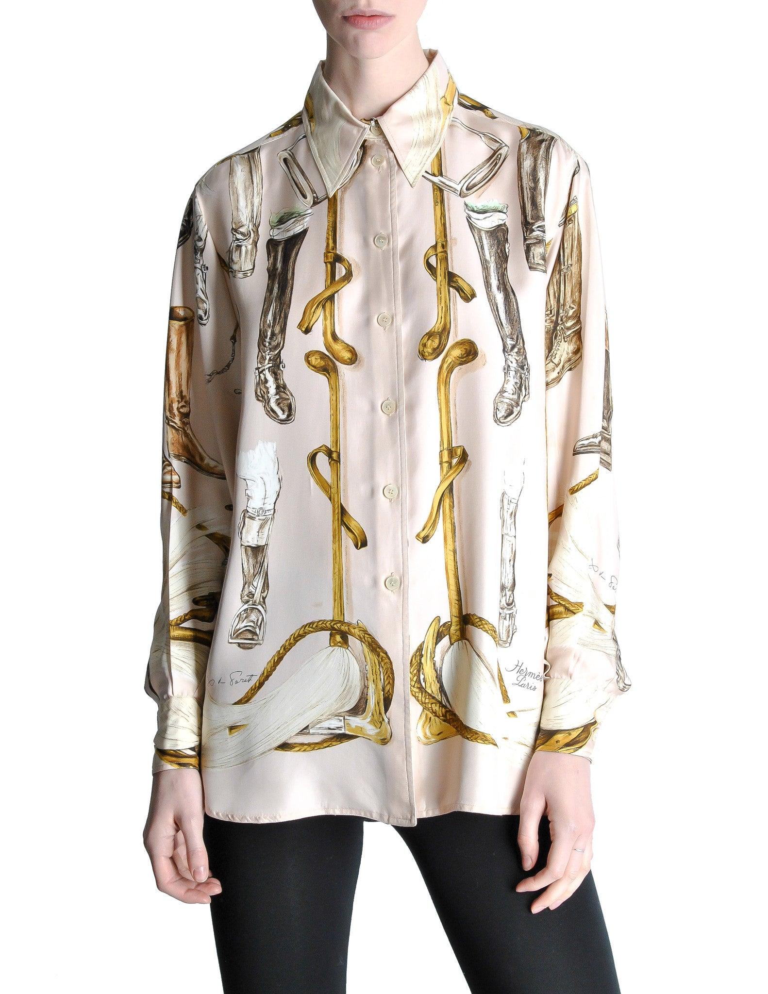 Hermès Vintage 'A Propos de Bottes' by Xavier de Poret Silk Button Down Shirt - Amarcord Vintage Fashion  - 1
