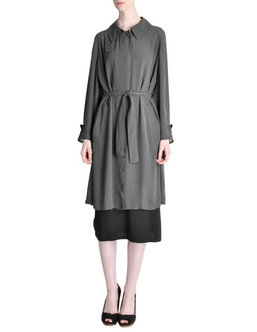 Hermès Vintage Grey Silk Chiffon Sheer Coat