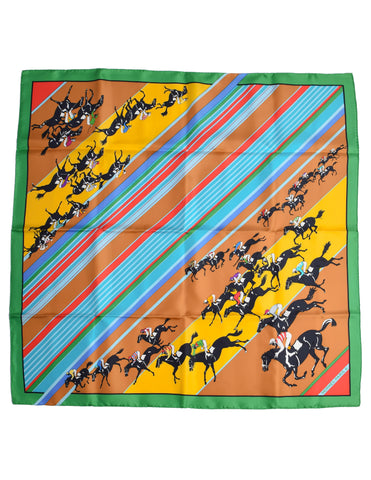 Hermes Vintage Les Courses Colorful Equestrian Horse Racing Silk Scarf
