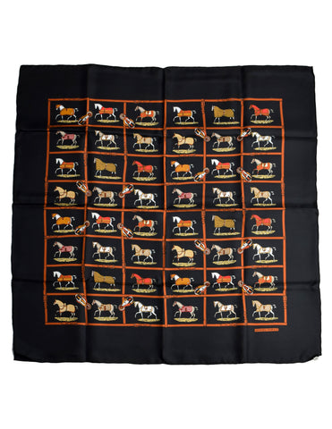 Hermes Vintage Petits Chevaux Equestrian Horse Silk Scarf