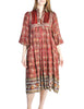 Phool Vintage Indian Silk Block Print Tent Dress - Amarcord Vintage Fashion  - 1