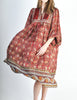 Phool Vintage Indian Silk Block Print Tent Dress - Amarcord Vintage Fashion  - 5
