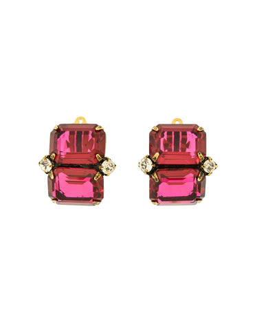 Iradj Moini Vintage Magenta Swarovski Crystal Earrings