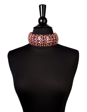 Iradj Moini Vintage Light Pink Swarovski Crystal Rhinestone Wide Statement Choker Necklace