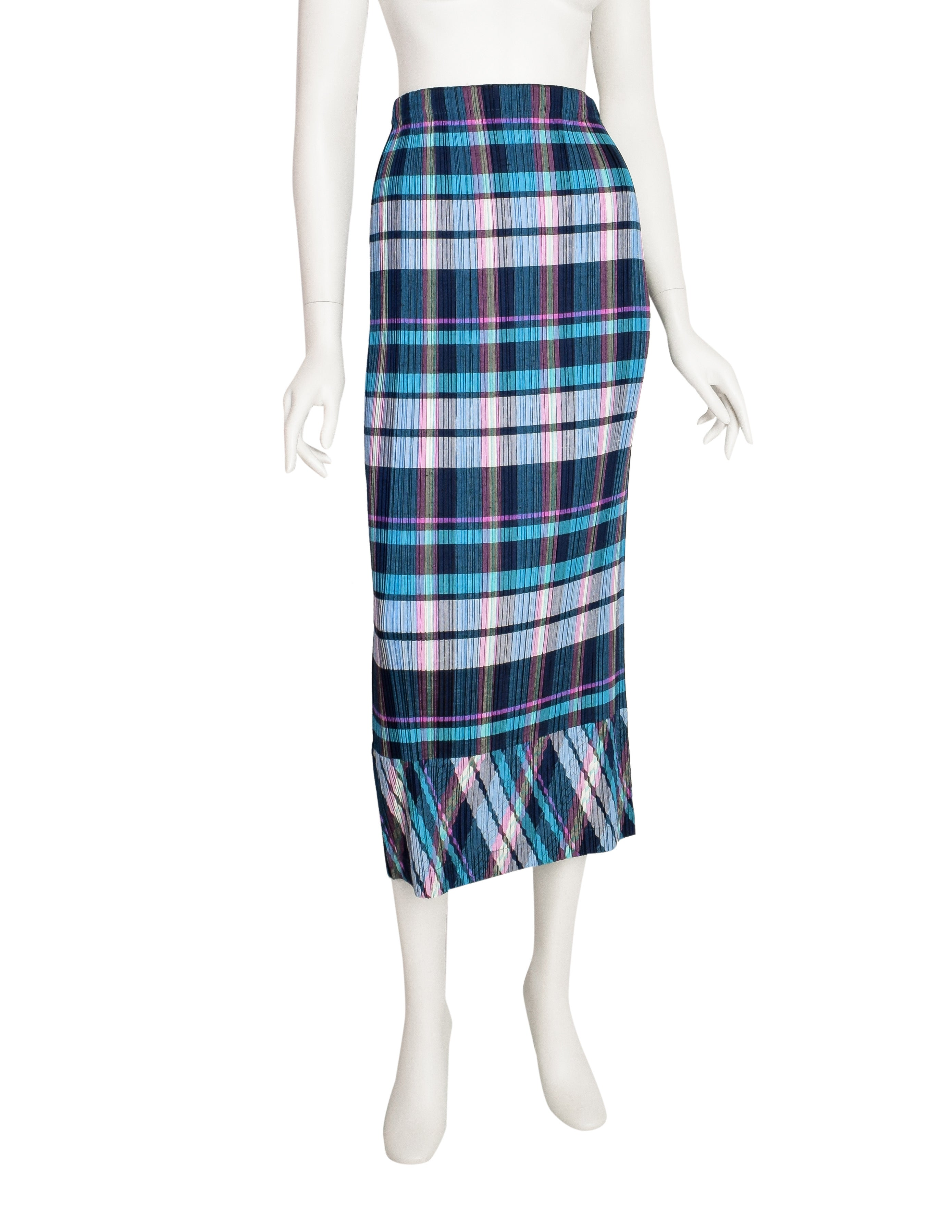 Issey Miyake Vintage Multicolor Plaid Print Pleated Skirt