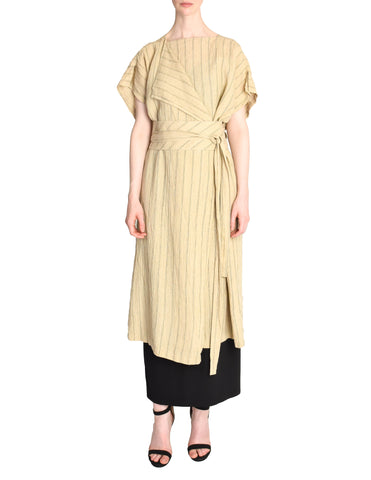 Issey Miyake Vintage Beige Linen Belted Wrap Duster Dress