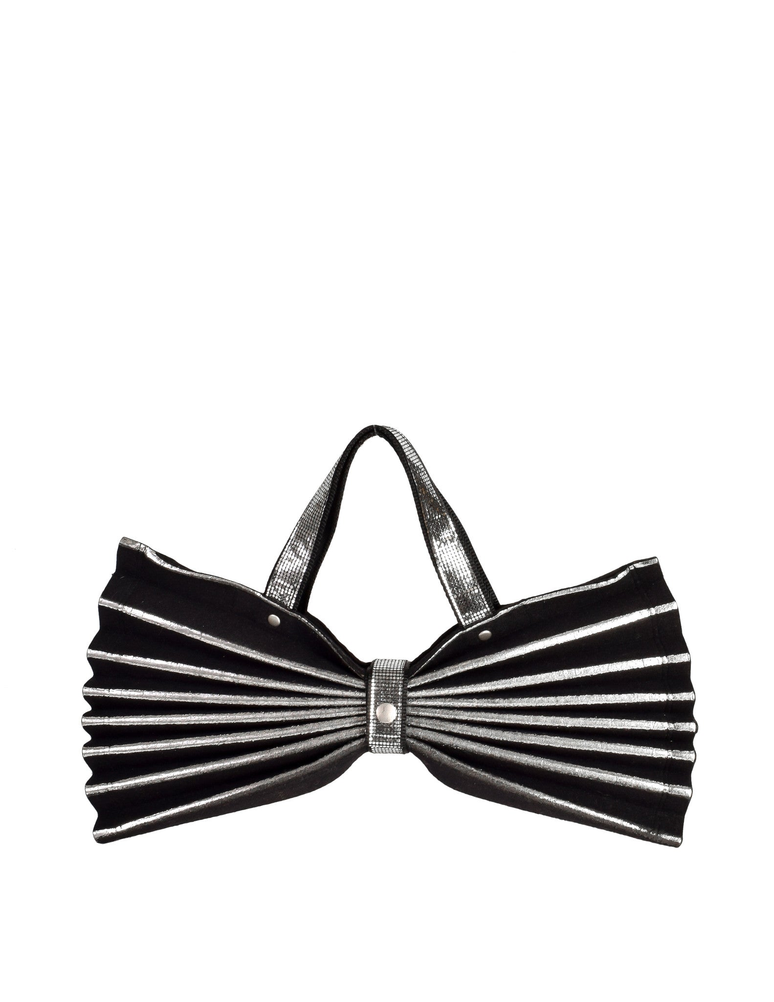 Issey Miyake Vintage Black & Silver Felt Accordion Pleated Bag - Amarcord Vintage Fashion  - 1