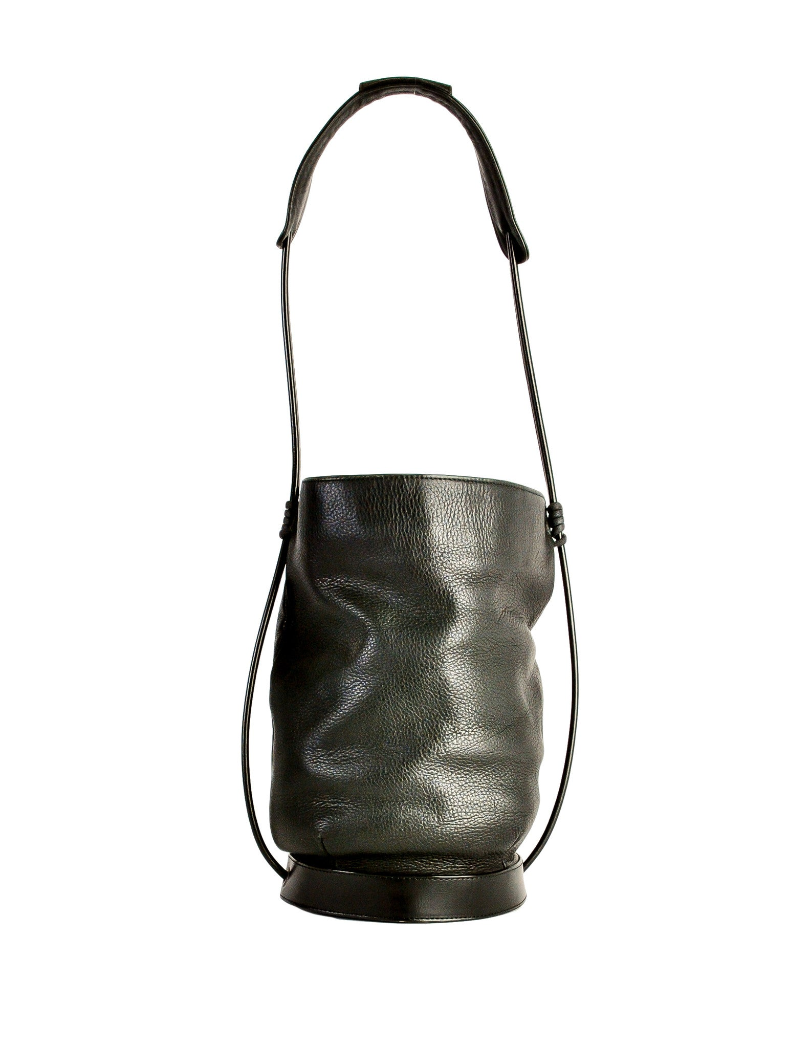 53e7e99872d Issey Miyake Vintage Black Leather Bucket Bag