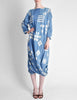 Issey Miyake Vintage Blue and White Cotton Geometric Draping Dress - Amarcord Vintage Fashion  - 3