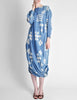 Issey Miyake Vintage Blue and White Cotton Geometric Draping Dress - Amarcord Vintage Fashion  - 2