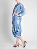 Issey Miyake Vintage Blue and White Cotton Geometric Draping Dress - Amarcord Vintage Fashion  - 7