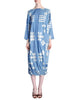 Issey Miyake Vintage Blue and White Cotton Geometric Draping Dress - Amarcord Vintage Fashion  - 1