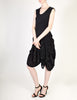 Issey Miyake Vintage Black Crinkle Pleated and Velvet Dress