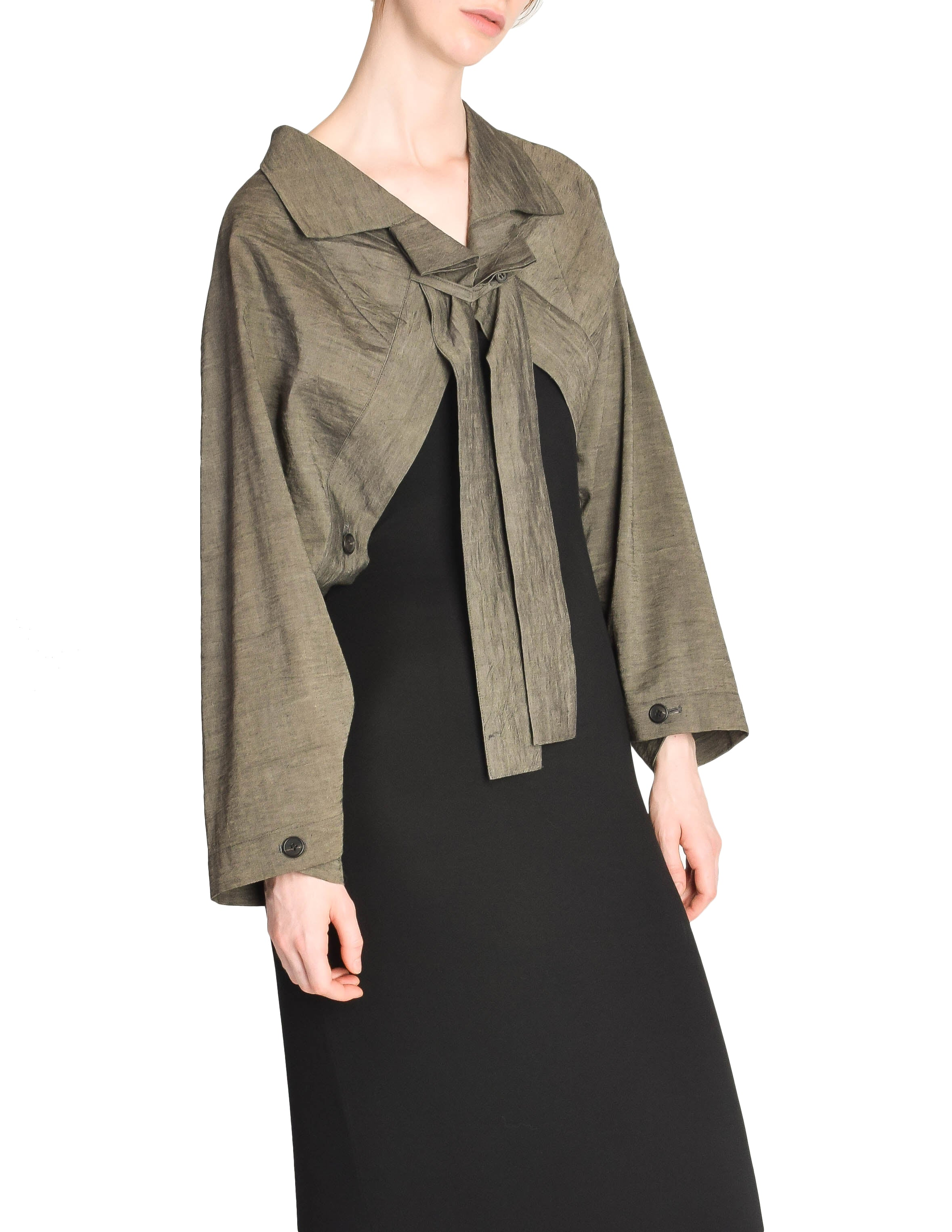 Issey Miyake Vintage Grey Chambray Linen Buttoned Cropped Shrug Bolero Jacket