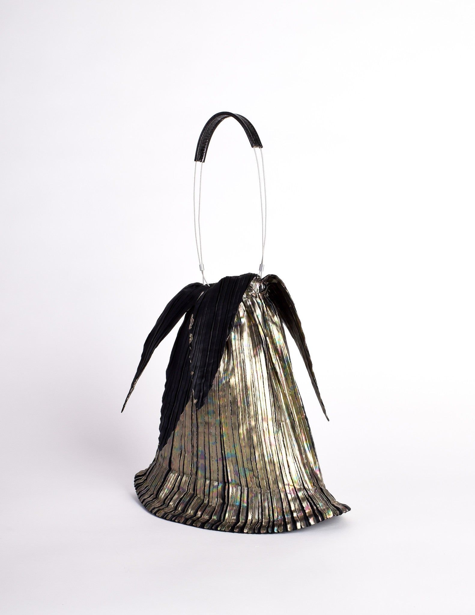 Issey Miyake Vintage Black Gold Iridescent Pleated Bag