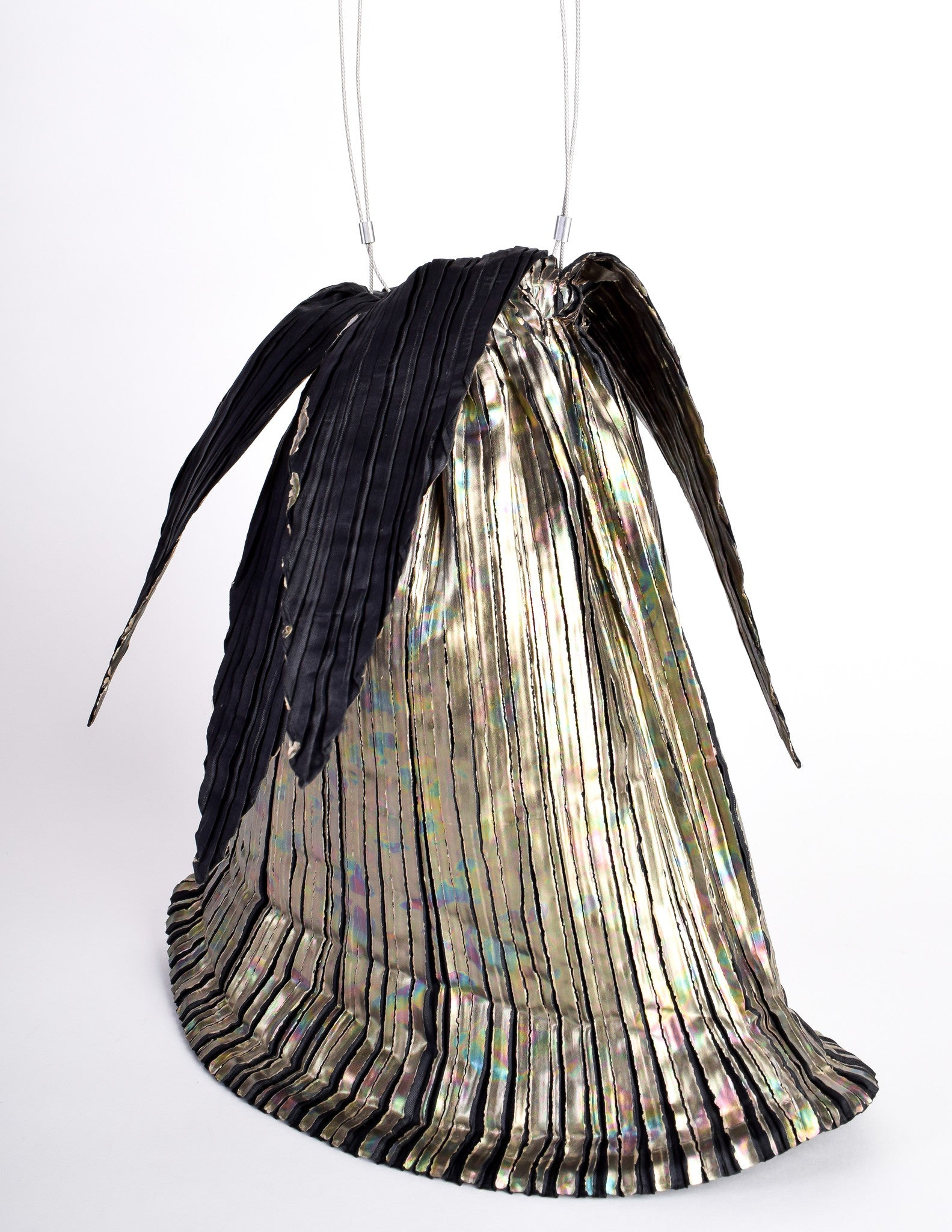 Issey Miyake Vintage Black Amp Gold Iridescent Pleated Bag From Amarcord Vintage Fashion
