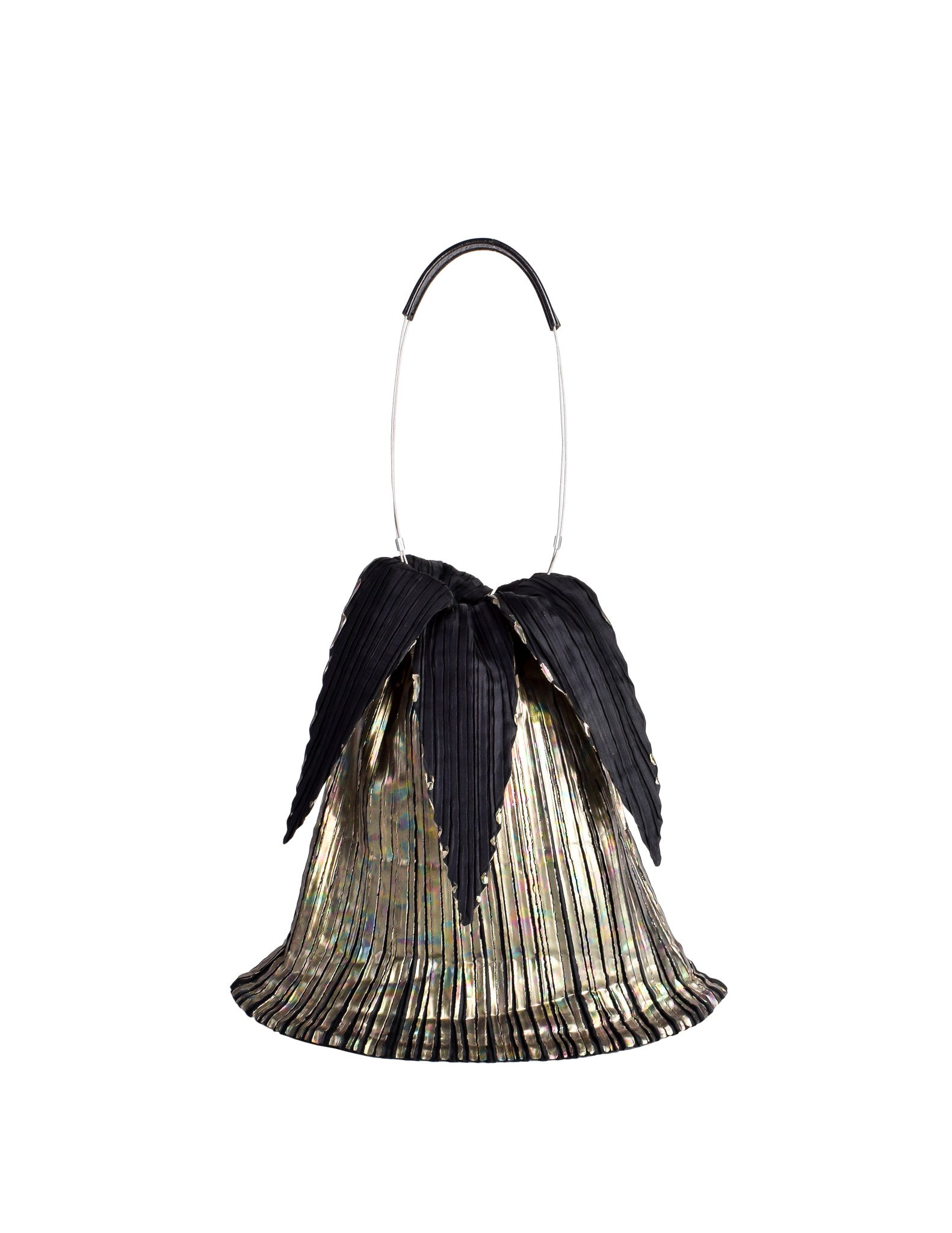 Issey Miyake Vintage Black & Gold Iridescent Pleated Bag - Amarcord Vintage Fashion  - 1
