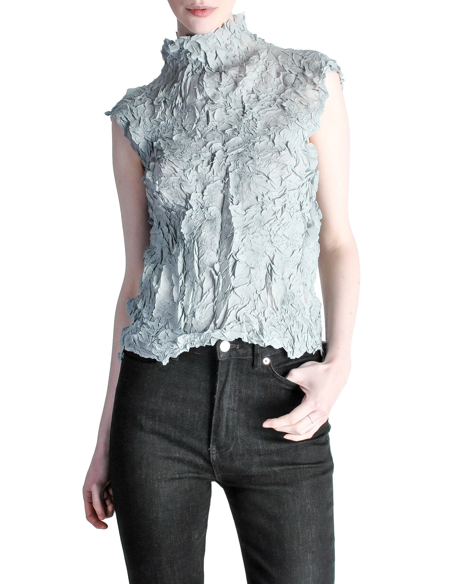 Issey Miyake Vintage Pale Blue Crinkle Pleat Top - Amarcord Vintage Fashion  - 1