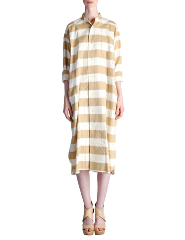Issey Miyake Plantation Vintage Cream & Beige Striped Shirt Dress