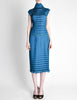 Issey Miyake Vintage Cerulean Blue Pleated Two Piece Top & Skirt Set - Amarcord Vintage Fashion  - 6