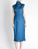 Issey Miyake Vintage Cerulean Blue Pleated Two Piece Top & Skirt Set - Amarcord Vintage Fashion  - 2