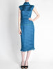 Issey Miyake Vintage Cerulean Blue Pleated Two Piece Top & Skirt Set - Amarcord Vintage Fashion  - 3
