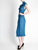 Issey Miyake Vintage Cerulean Blue Pleated Two Piece Top & Skirt Set - Amarcord Vintage Fashion  - 7