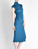 Issey Miyake Vintage Cerulean Blue Pleated Two Piece Top & Skirt Set - Amarcord Vintage Fashion  - 4