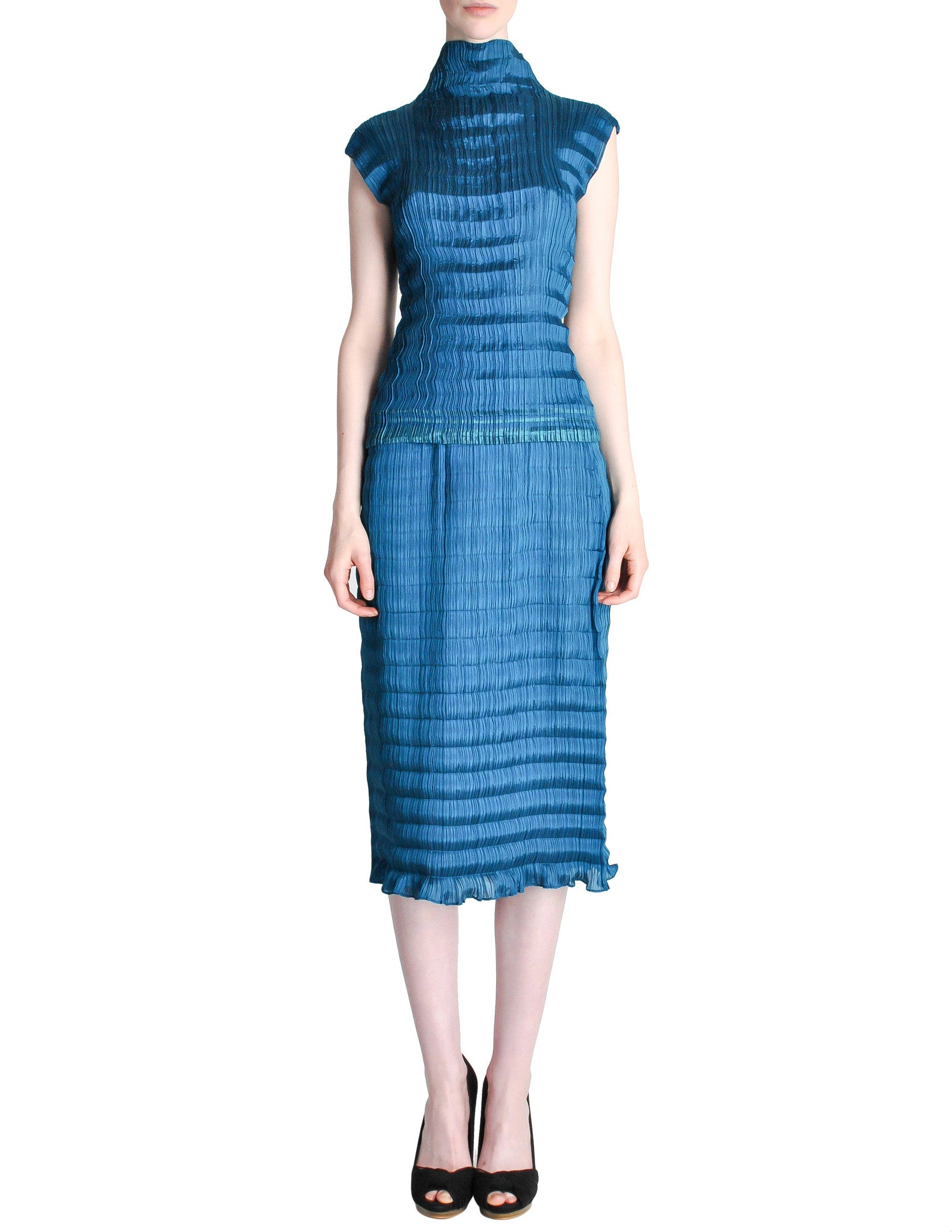 Issey Miyake Vintage Cerulean Blue Pleated Two Piece Top & Skirt Set - Amarcord Vintage Fashion  - 1