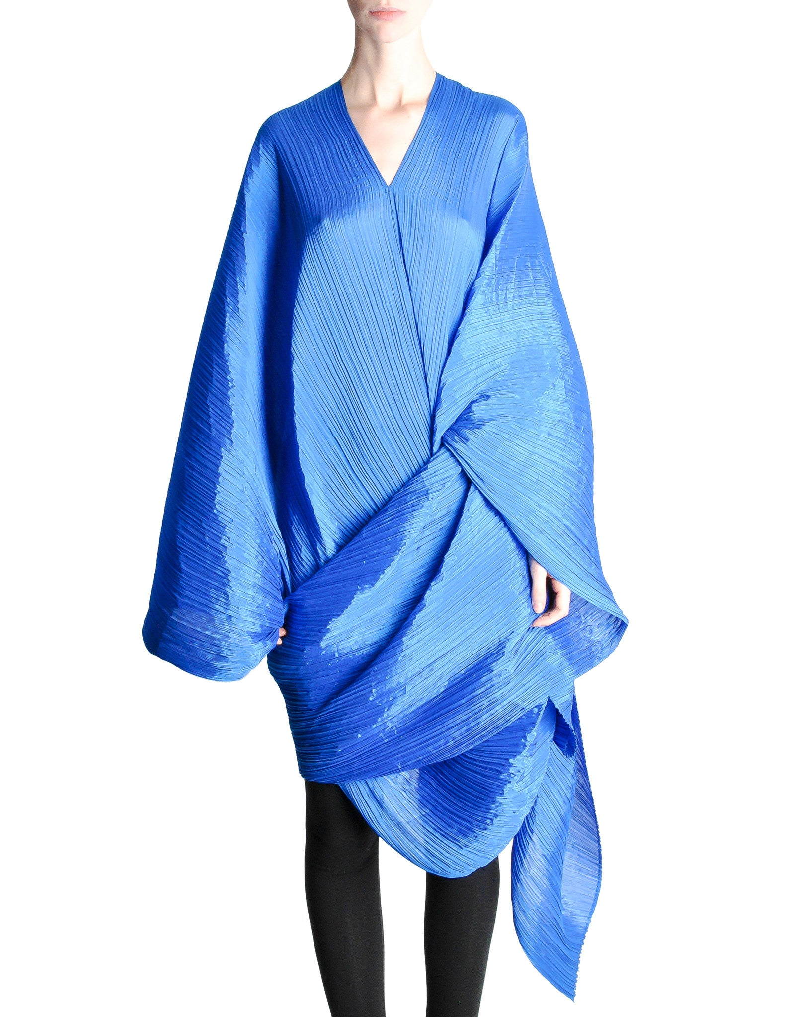 Issey Miyake Pleats Please Vintage Blue Pleated Multi-Functional Wrap Cape - Amarcord Vintage Fashion  - 1