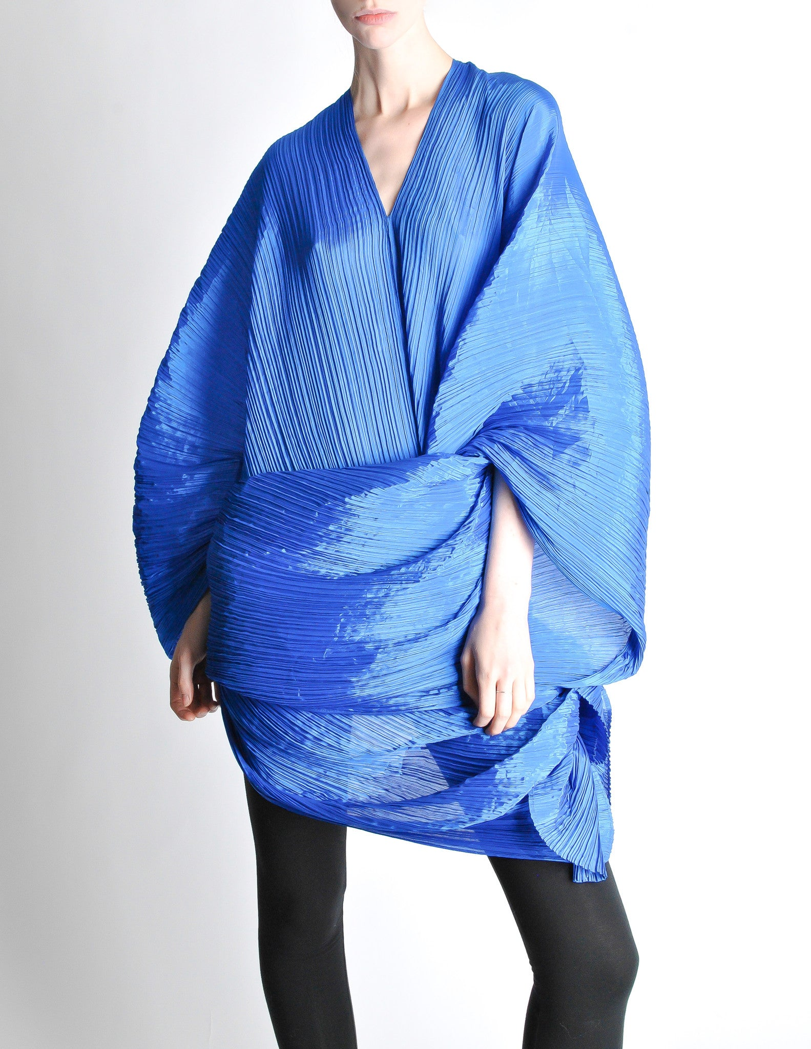 Issey Miyake Pleats Please Vintage Blue Pleated Multi Functional Wrap From Amarcord Vintage
