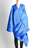 Issey Miyake Pleats Please Vintage Blue Pleated Multi-Functional Wrap Cape - Amarcord Vintage Fashion  - 2