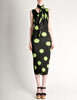 Issey Miyake Pleats Please Vintage Black & Green Polka Dot Dress - Amarcord Vintage Fashion  - 2