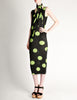 Issey Miyake Pleats Please Vintage Black & Green Polka Dot Dress - Amarcord Vintage Fashion  - 3
