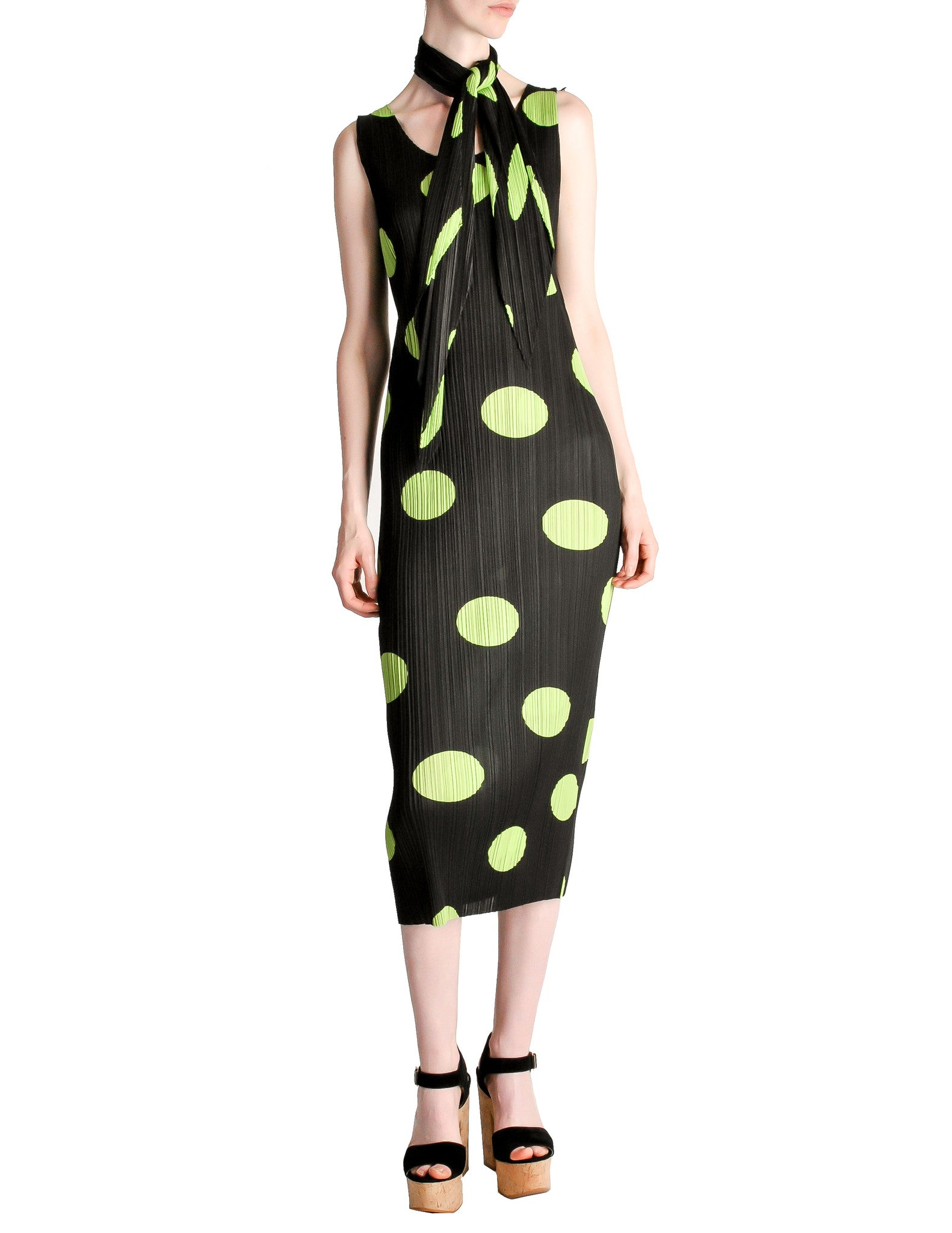 Issey Miyake Pleats Please Vintage Black & Green Polka Dot Dress - Amarcord Vintage Fashion  - 1