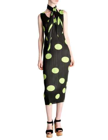 Issey Miyake Pleats Please Vintage Black & Green Polka Dot Dress