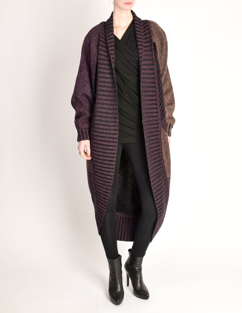 6dfc510209 Issey Miyake Vintage Purple Knit Oversized Wool Sweater Coat - from Amarcord  Vintage Fashion