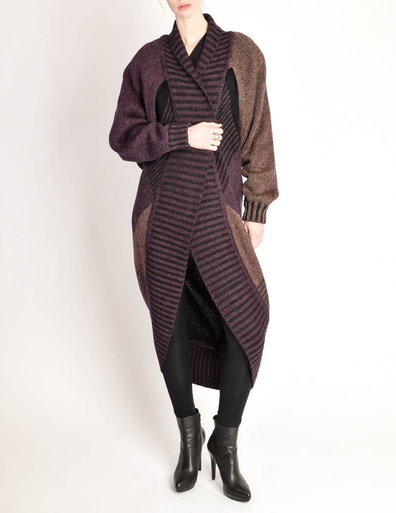 395f6dd09b Issey Miyake Vintage Purple Knit Oversized Wool Sweater Coat - from ...