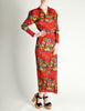 Issey Miyake Pleats Please Vintage Chinese Print Two Piece Top & Skirt Ensemble - Amarcord Vintage Fashion  - 2