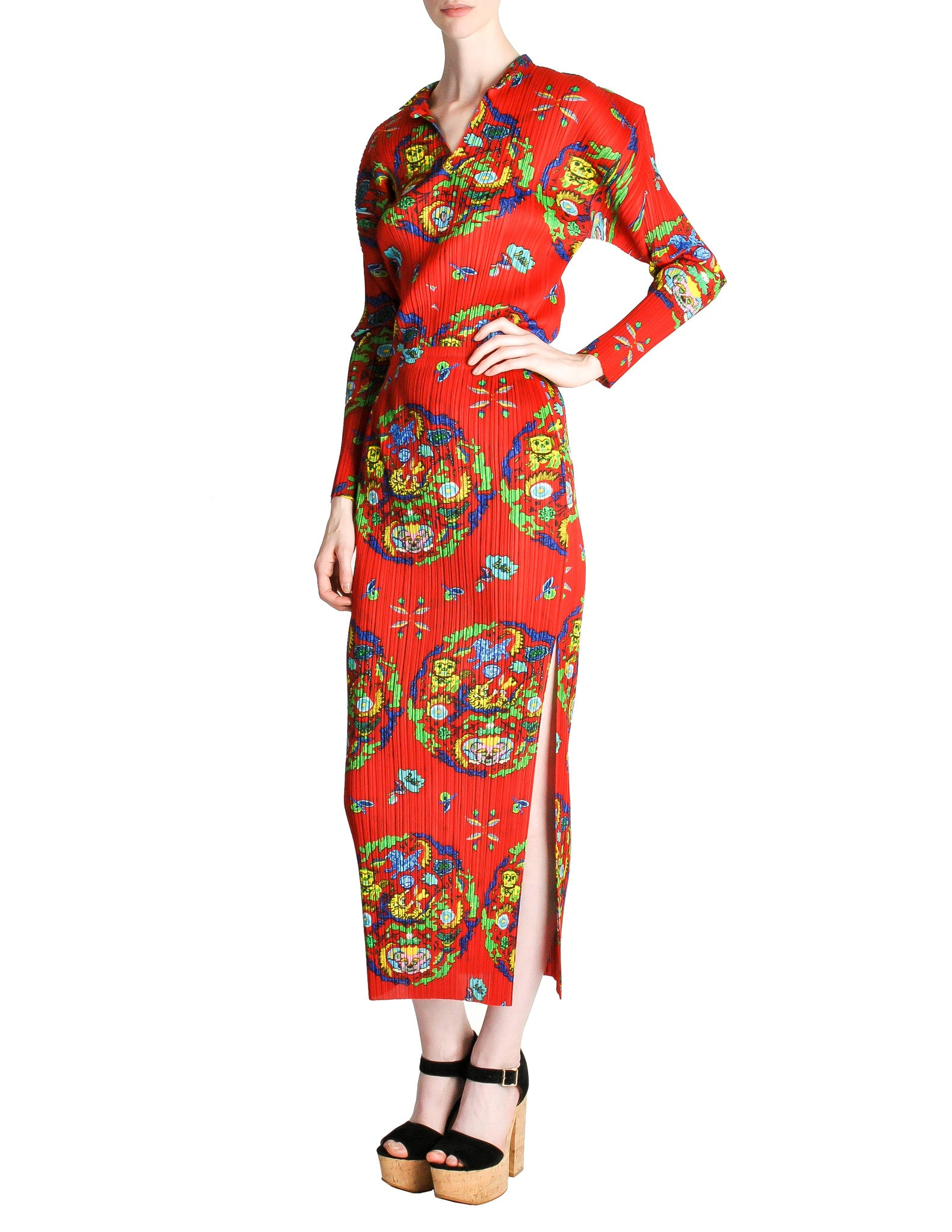 Issey Miyake Pleats Please Vintage Chinese Print Two Piece Top & Skirt Ensemble - Amarcord Vintage Fashion  - 1