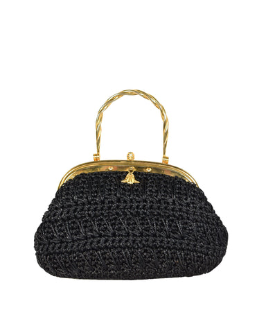 1970s Vintage Italian Woven Black Raffia Rope Gold Framed Basket Bag