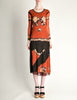 Jean Paul Gaultier Vintage Black & Rust Floral Mesh Dress - Amarcord Vintage Fashion  - 3
